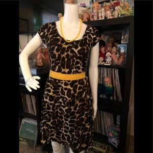Vintage style leopard print dress pinup rockabilly
